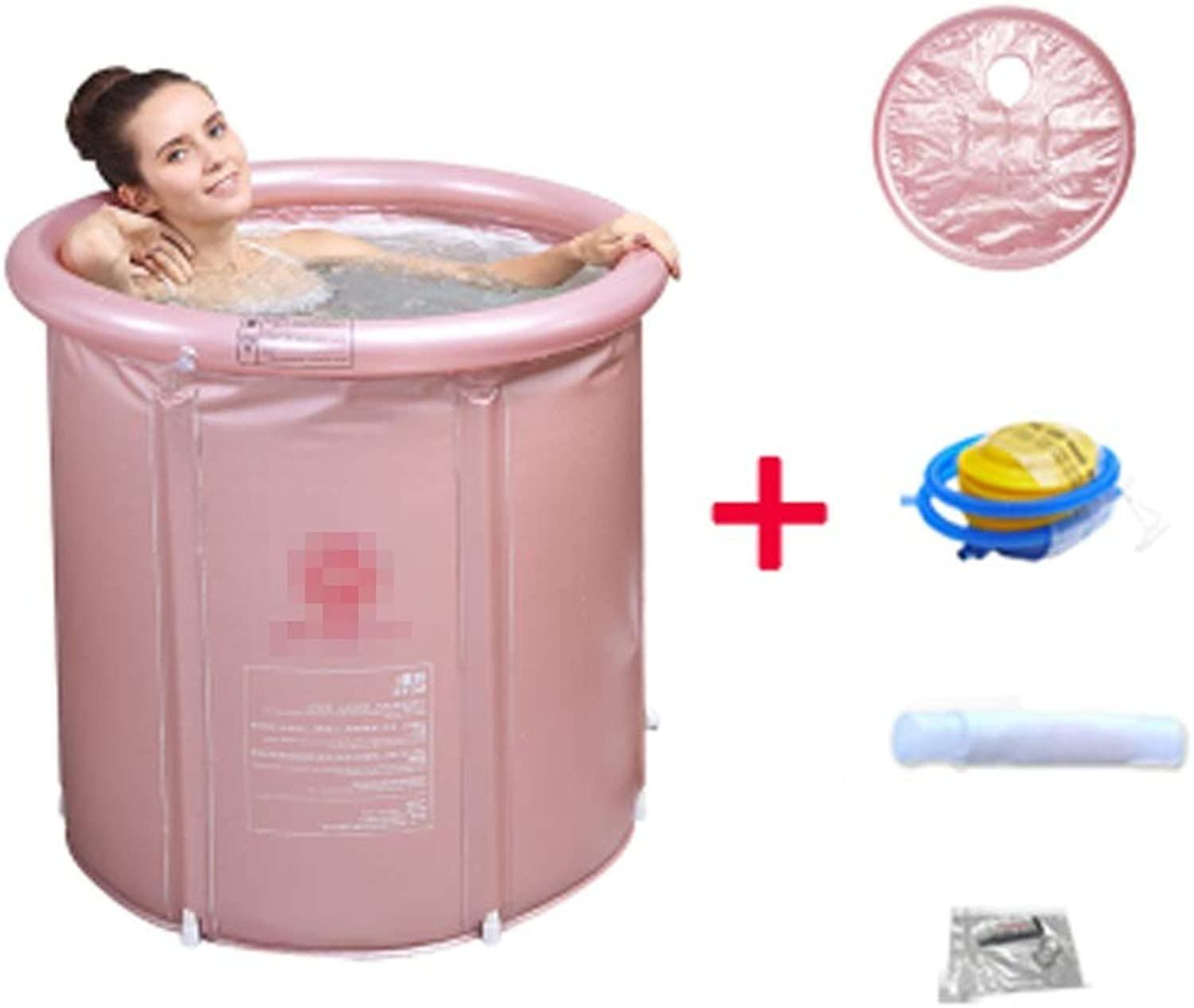 SYFO Adult Inflatable Bathtub Baby Pool Home Folding Plastic Bathtub golden Pink Bathtub (color   PINK, Size   75  80cm)