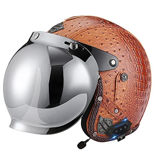 BYBYGXQ Casco Motocicleta Retro Cuero con Bluetooth para Hombres Mujeres, Cara Abierta Casco Moto Calle, Aprobado ECE, Gorra Béisbol Ciclomotor Estilo Jet Helicóptero Bicicleta Scooter Casco