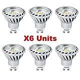 Xpeoo Lot de 6 LED 6W Dimmable GU10 Blanc froid Neutre Naturel Equivalente à une Halogène de 50W, Spot Light Ampoule Variateur de Lumière Lampe lumière Ampoules Bulb d'ampoule 520 lm Cool White, 4500-5000k AC 220v