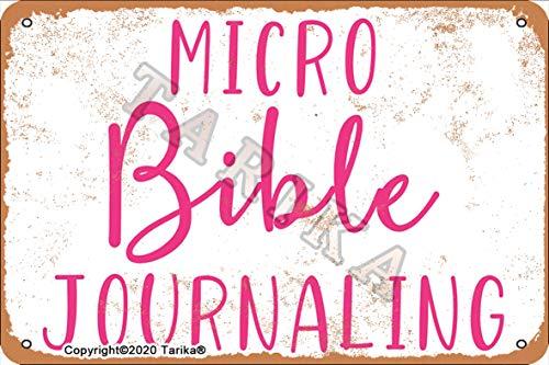Micro Biblia Journaling Iron Retro Look 8 x 12 pulgadas Decoración Letrero de Arte para el hogar, cocina, baño, granja, jardín, garaje, citas inspiradoras, decoración de pared