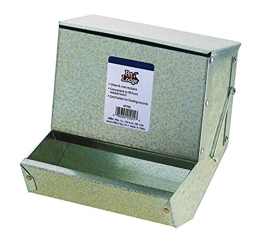 LITTLE GIANT Steel Small Animal Feeder with Lid - Pet Lodge - Small Animal Feed Box, Hold Several Days Worth of Feed, Great for Rabbits, Ferrets and Other Small Animals (7 Inch) (Item No. AF7ML)