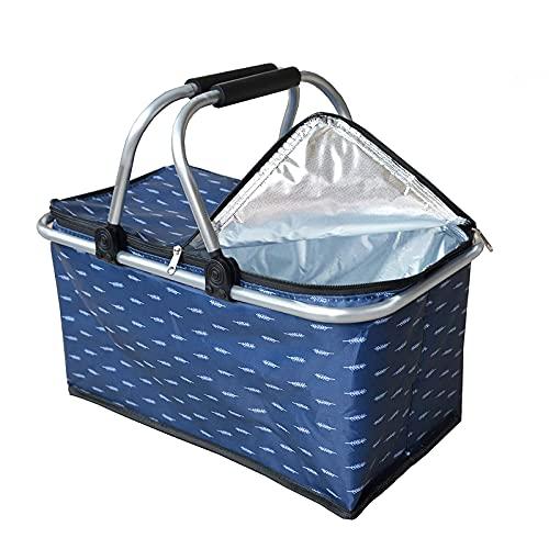 Einkaufskorb faltbar mit Kühlfunktion, Picknickkorb   Klappbar Thermokorb mit Deckel   Isolierkorb   Einkaufstasche mit Reißverschluss   Tragetasche   30L(Blaue Feder)