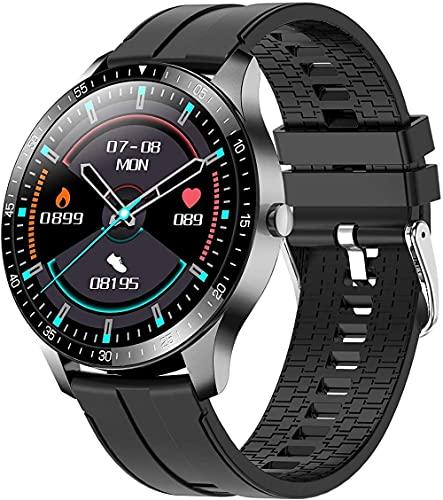 Reloj inteligente de frecuencia cardíaca y monitoreo del sueño 1.3 pulgadas TFT pantalla táctil completa pulsera de larga duración de la batería IP68 impermeable modo multi-deportivo-negro
