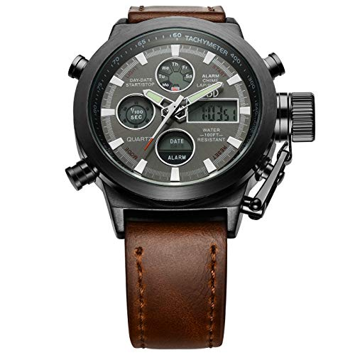 Golden Hour Fashion Leather Mens Military Watch Waterproof Multifunctional Analog Digital Sports Watches for Men in Black