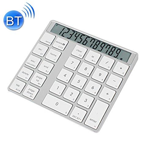 ESports MC Saite MC-58AG USB Opladen Bluetooth 3.0 Numerieke Toetsenbord met 12-cijferige Display & LED-indicator voor Laptop Desktop PC Notebook(Zilverwit) (zilver). (Kleur: zilver)
