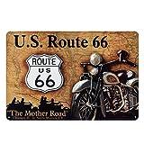 Lumanuby. 1x Klassisch 'Route 66' Deko Wandschild Metall