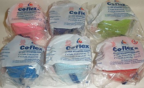 ANDOVER CO-FLEX NL 2'x5Yds Color 6-PACK Cohesive Flexible Elastic Latex Free Bandage Compression Self Adherent Wrap Bright Neon Purple Yellow Blue For Children Animals Pets Cats Dogs Horses 5200CP