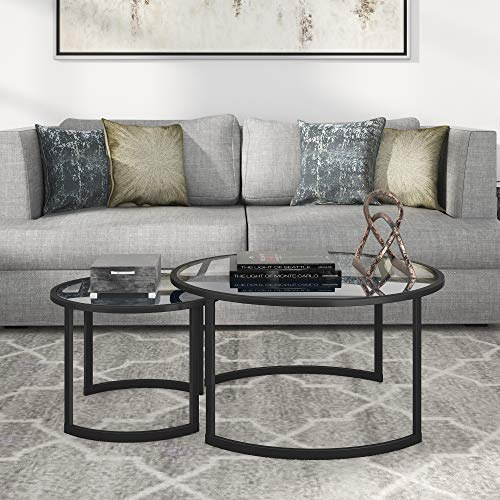 "Henn&Hart Nested Round Glass Coffee Table, 18.5"" H x 36"" L x 36"" W, Black"