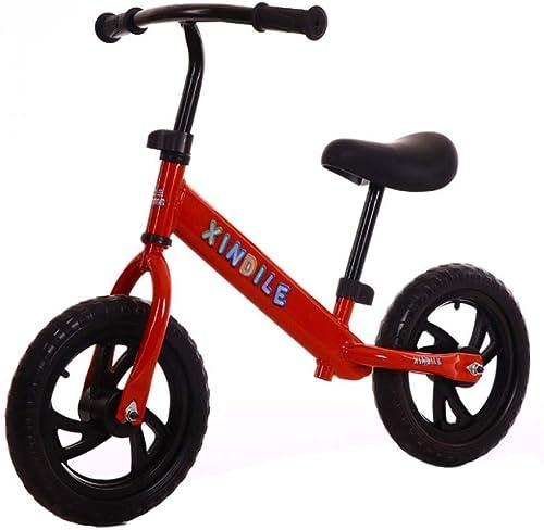 GSDZSY - Laufrad 12 Zoll, Kohlenstoffstahlrahmen, Verstellbarer Lenker, Sitz Und Standfu Eva-Rad, 2-6 Jahre,rot
