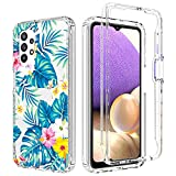 Zoeirc Case for Galaxy A32 5G Case, Samsung A32 5G Clear Case for Girls, Soft TPU 360 Full Body Shockproof Hybrid Bumper Crystal Clear Phone Case Cover for Samsung Galaxy A32 5G (Flowers & Leaves)