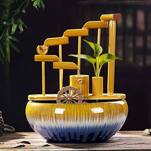Fuente de Agua de Mesa para Interior, Sala de Estar, Oficina, Escritorio, decoración, Fuente, Fuente de bambú apilada con Base de cerámica, humidificador de Agua circulan