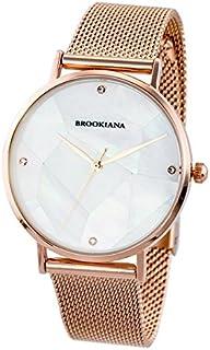 [ブルッキアーナ]BROOKIANA メンズ レディース マザーオブパール 神秘的 36mm ホワイトパール ローズゴールド メッシュブレス ステンレス BA3101-RPWMRG 腕時計 [並行輸入品]