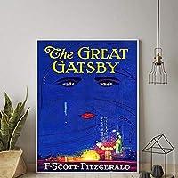 グレートギャツビーポスターFスコットフィッツジェラルドブックカバープリント北欧のCnavas絵画壁の写真リビングロム家の装飾/ 50x70cm-フレームなし
