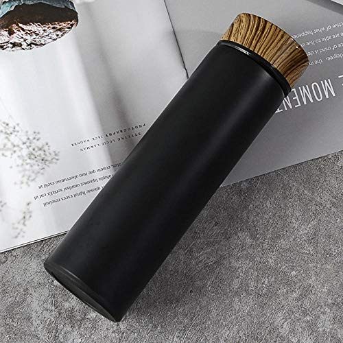 Jusemao Hervidor de acero inoxidable creativo de grano de madera de aislamiento botella de agua 500 ml adecuado para la oficina al aire libre Fitness Room-negro_500ml