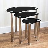 Vida Designs Cara Nest Of 3 Tables, Black Glass Modern Furniture