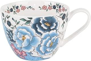 Portobello Wilmslow Fleur Blue Bone China Mugs Tea Cups, Set of 2