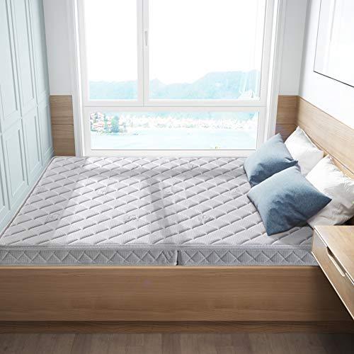 Love Home Tatami Kokosnuss-Matratze, faltbar, atmungsaktiv, Fester Reißverschluss, waschbar, Matratzenauflage Schlafmatratze, Kokosnuss-Handfläche, weiß, 150x190cm(59x75inch)