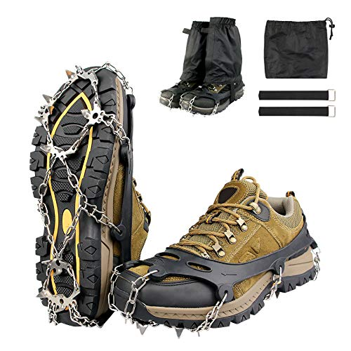 GOKKCL Traction Cleats Ice Cleats Ice Snow Grips Crampons with Anti Slip 19 Stainless Steel Spikes for Walking,Jogging, Climbing and Hiking,Free Low Gaiters,Carryying Bag,Strap