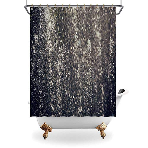 ALUONI Fountain Water Drops Shower Curtain Waterproof Polyester Fabric Shower Curtain with Hooks,170249 for Bathroom Decor,71 in x 79 in
