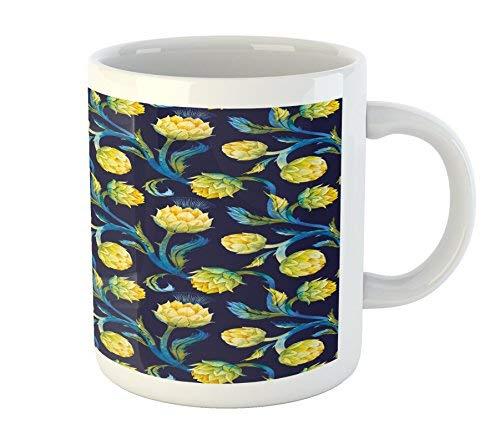 Koffie Mok 11 oz Thee Beker, Artisjok Mok, Aquarel Artisjokken Abstract Kleur Schema Art Nouveau, Gedrukte Keramische Koffie Mok Water Thee Drankjes Beker, Donker Blauw Violet Blauw en Geel