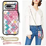 ZVE Samsung Galaxy Note 8 Wallet Case, Galaxy Note 8 Case with Credit Card Holder Crossbody Chain Leather Zipper Purse Protective Shockproof Case Cover for Samsung Galaxy Note8 6.3 - Mermaid Wall