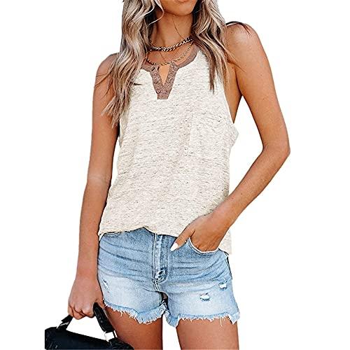 Camiseta Sin Mangas Mujer con Cuello En V Moda Simple Tops Mujer Verano Vacaciones En La Playa Fiesta Informal Suelta Cómoda Camiseta Mujer D-Khaki 5XL