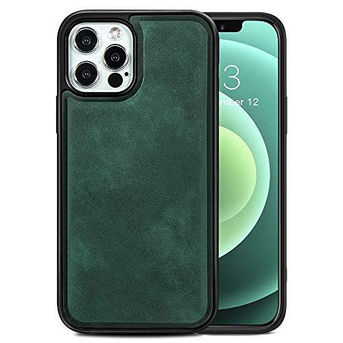 TANYO Étui en Cuir avec MagSafe pour iPhone 12 | 12 Pro (6.1 Pouces), Housse en Prime TPU/PU avec Fonction Magnétique MagSafe, Coque de Téléphone Antichoc en Silicone TPU - Vert