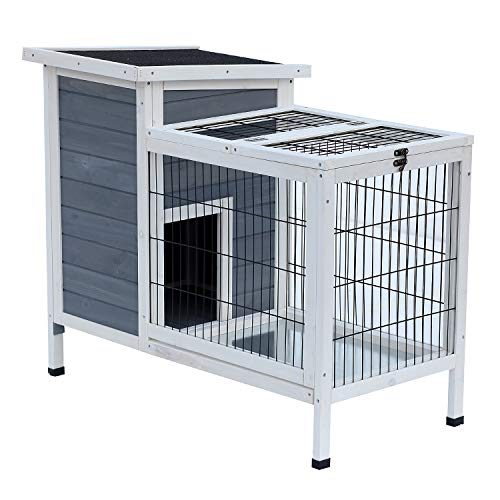 """PawHut 36"""" Raised Outdoor Weatherproof Wooden Rabbit Hutch Bunny Cage with Enclosed Run"""