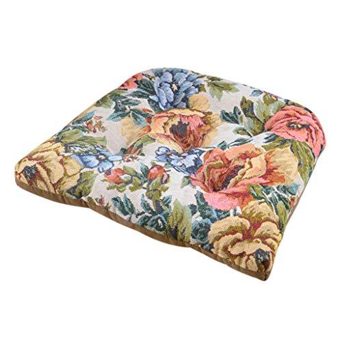 FeiliandaJJ Stuhl Sitzkissen Vintage Retro Blumen Drucken Stuhlkissen 45x45cm - Auflage Sitzauflage Büro Boden Balkon Garten Stuhlkissen für Innen Außenbereich Chair Cushion (I)
