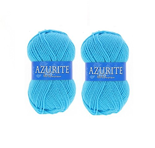 les colis noirs lcn Lot 2 Pelote de Laine Azurite 100% Acrylique Tricot Crochet Tricoter - Bleu - 2635
