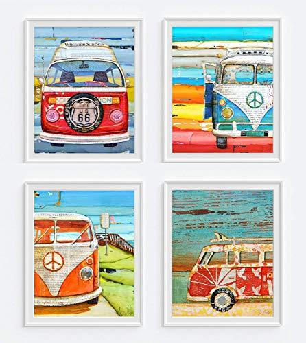 Antique Classic Vans Art Prints, Set of 4, Danny Phillips Fine Art, Mixed Media Collage Artwork, Coastal Wall Decor, 8x10 Inches