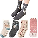 Womens Socks 4 Pairs, Multipack Ladies Cotton Fluffy Funny Socks with Cute Funky Animal Fox Print, Novelty Thick Warm Thermal Winter Odd Socks Gifts for Women Girls Christmas 4-7