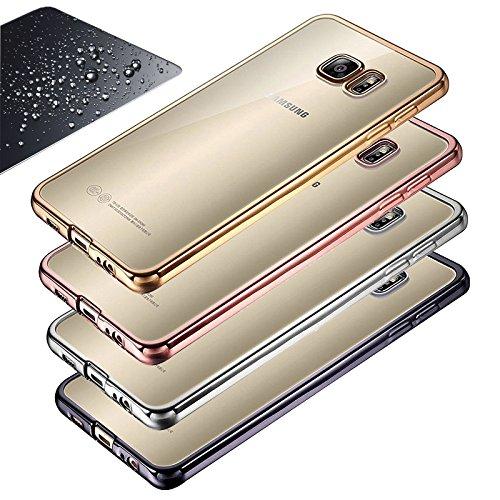Eximmobile Chrom Silikon Schutzhülle + Panzerfolie kompatibel mit Samsung Galaxy J1 (2016) in Gold Handytasche + Schutzfolie Glasfolie Bildschirmschutz Handyhülle Hülle Cover Folie