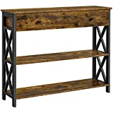Yaheetech Wooden Console Sofa Table Narrow Side End Table with Shelf Storage, for Hallway/Living Room/Bedroom, 100x29.5x80.5cm