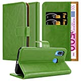 Cadorabo Hülle für Samsung Galaxy A40 in Gras GRÜN - Handyhülle mit Magnetverschluss, Standfunktion & Kartenfach - Hülle Cover Schutzhülle Etui Tasche Book Klapp Style