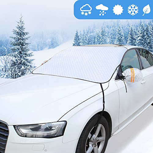 GAMURRY Windshield Cover Set for Ice and Snow for Car, Car Windshield Snow Cover Ice Removal Sun Shade for Winter Protection with Separate Rearview Mirror Cover for Most Cars, Trucks, SUVs, MPVs