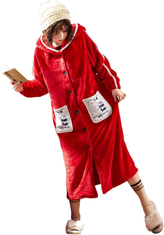 KAOKAOO Womens Robe Premium Flannel Warm Long Bathrobe