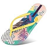 Sandalias de Moda de Fondo Plano Casual para Mujer Flip Flop | Clip Toe Summer Beach Sandalias Moda Damas Bohemia Plataforma Flores Zapatos,Amarillo,10