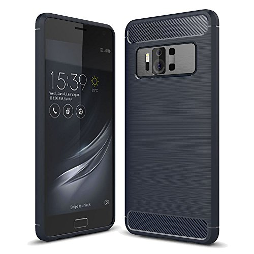 König Design Handy-Hülle kompatibel mit Asus Zenfone AR ZS571KL Silikon Hülle Hülle Sturzsichere Back-Cover Handyhülle - Carbon - Blau