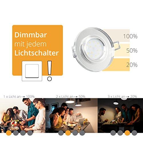 LED Einbaustrahler super flach Einbautiefe nur 15mm aus klarem Glas rund mit fourSTEP LED Modul dimmbar ohne dimmer 5W neutralweiß