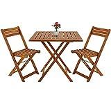 deuba set da balcone in acacia 3 pz tavolo e sedie da giardino esterno terrazza bar bistro salotto