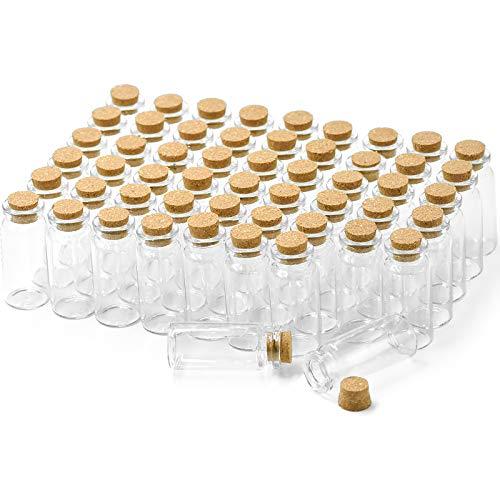 Wandefol 55 Mini bottiglietta Vetro con Tappo Sughero 10ml (5cm x 2cm) bomboniera per Lavanda bigliettini Sabbia Perline Liquido spezie, boccettine fiala Vaso