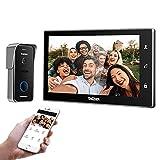 TMEZON Videoportero WiFi Sistema de intercomunicación, Monitor 10 zoll con Timbre con Cable, tecnología de 4 Cables, Desbloqueo Remoto, visión Nocturna, instantánea/grabación, Tuya Smart App,Negro