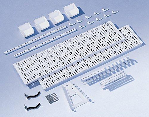 Element System Werkzeuglochwand aus Metall plus 19 teilig Werkzeughalterset inklusive Schrauben und Dübel, Werkzeugwand weiß, Werkbankzubehör - 6