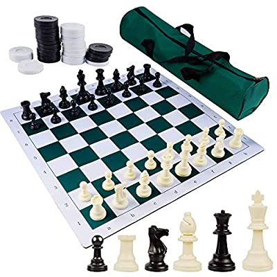 """Juegoal 20"""" Portable Chess & Checkers Set, 2 in 1 Travel Board Games for Kids and Adults, Folding Roll up Chess Game Sets, Extra 26 Checker Pieces, Tournament Thick Mousepad Mat with Storage Bag"""