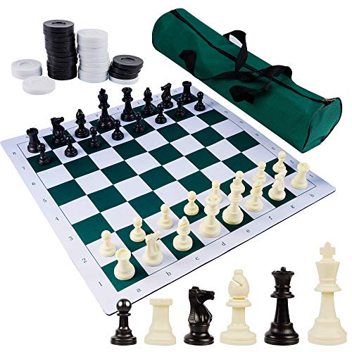 Juegoal 20' Portable Chess & Checkers Set, 2 in 1 Travel Board Games...