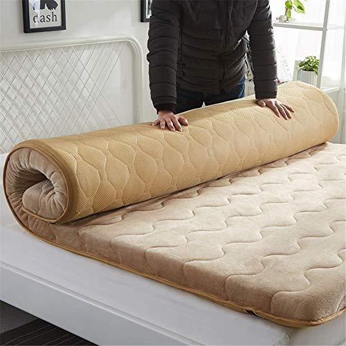 GJP Cojín de colchón de Felpa Espesa Alfombrilla de Tatami Acolchada de Color sólido Colchón de futón Plegable Antideslizante Airy Transpirable (Grosor: 5 cm) para Dormitorio Familiar EtcC-180x2