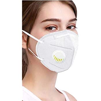 Zelenor Polypropylene KN-95 Respirator Anti-Dust Breathable Protective with N95 Filter 5 Layer Protection Face Mask for Men and Women - Pack of 6, ( White)