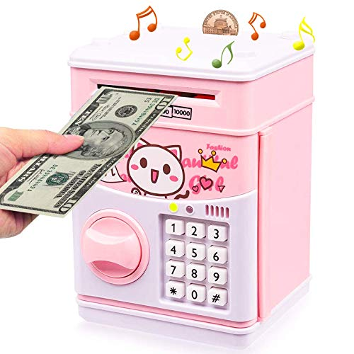 YFSS Musical Money Bank for Kids Electronic Piggy Bank Cartoon Password ATM Piggy Bank for Real Money, Auto Scroll Paper Money Saving Box Best Toy Gifts for Boys Girls