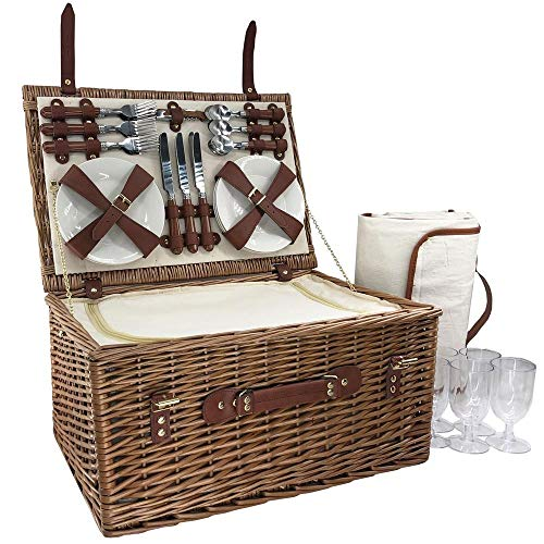 Red Hamper 6 Person Classic Wicker Fitted Picnic Basket